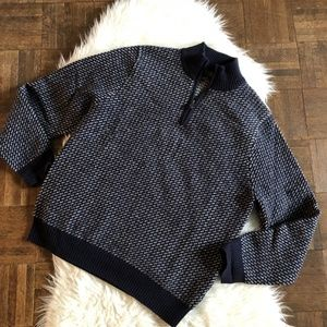 Brooks Brothers Medium Blue White 1/4 Zip Sweater